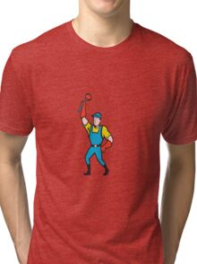 Super Plumber Wielding Plunger Cartoon Tri-blend T-Shirt