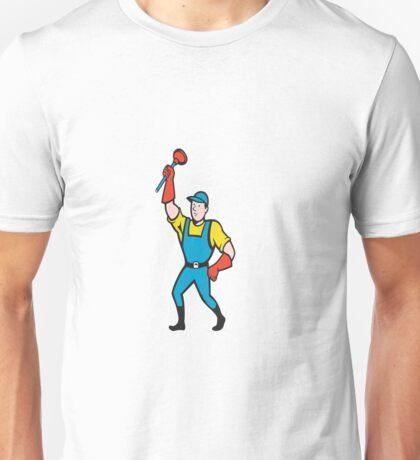 Super Plumber Wielding Plunger Cartoon Unisex T-Shirt