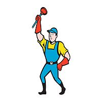 Super Plumber Wielding Plunger Cartoon by patrimonio