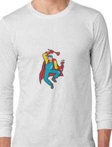 Super Plumber Plunger Wrench Cartoon Long Sleeve T-Shirt