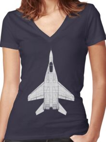 Mikoyan MiG-29 Fulcrum Women's Fitted V-Neck T-Shirt