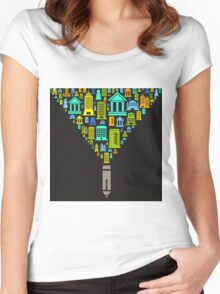 Pencil the house Women's Fitted Scoop T-Shirt