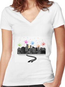 Road to a city2 Women's Fitted V-Neck T-Shirt