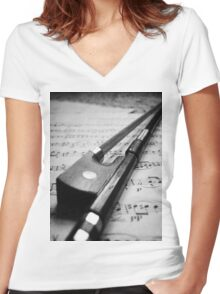 Violin Bow Women's Fitted V-Neck T-Shirt