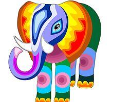 Elephant Rainbow Colors Patchwork by BluedarkArt