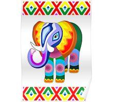 Elephant Rainbow Colors Patchwork Poster