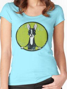 Boston Terrier Retro Pop Out Women's Fitted Scoop T-Shirt