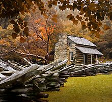Oliver's Cabin during fall in the Great Smokey Mountains by Randall Nyhof