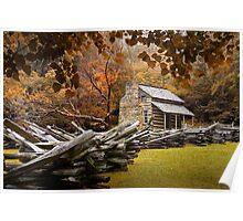 Oliver's Cabin during fall in the Great Smokey Mountains Poster