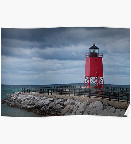 Charlevoix Lighthouse in Charlevoix Michigan Poster
