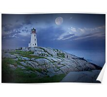 Lighthouse at Peggy's Cove in the Moonlight Poster