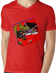 Dinowar Mens V-Neck T-Shirt