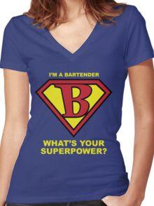 Bartender Superhero Women's Fitted V-Neck T-Shirt