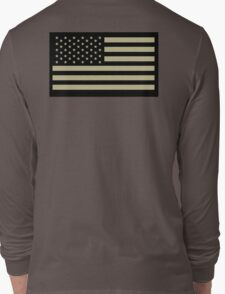 AMERICAN, ARMY, reverse side flag, Soldier, American Military, Arm Flag, US Military, IR, Infrared, USA, Flag, on BLACK Long Sleeve T-Shirt