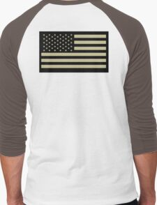 AMERICAN, ARMY, reverse side flag, Soldier, American Military, Arm Flag, US Military, IR, Infrared, USA, Flag, on BLACK Men's Baseball ¾ T-Shirt