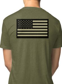 AMERICAN, ARMY, reverse side flag, Soldier, American Military, Arm Flag, US Military, IR, Infrared, USA, Flag, on BLACK Tri-blend T-Shirt