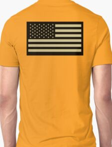 AMERICAN, ARMY, reverse side flag, Soldier, American Military, Arm Flag, US Military, IR, Infrared, USA, Flag, on BLACK Unisex T-Shirt