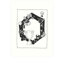 Mario Kart Block and White Art Print