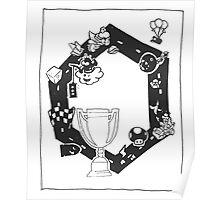 Mario Kart Block and White Poster
