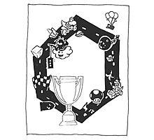 Mario Kart Block and White Photographic Print