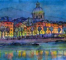 Genova pegli by night by Luca Massone  disegni