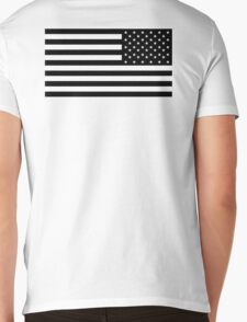 American Flag, ARMY, REVERSE FLAG, Stars & Stripes, US, USA, America, Black on white Mens V-Neck T-Shirt