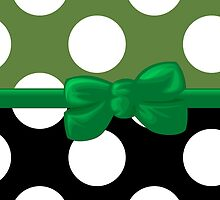 Polka Dots, Ribbon and Bow, White Black Green by sitnica