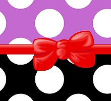 Polka Dots, Ribbon and Bow, White Black Purple Red by sitnica