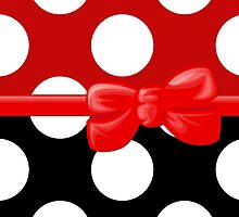 Ribbon, Bow, Polka Dots - Black White Red by sitnica