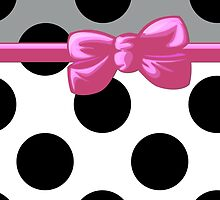 Ribbon, Bow, Polka Dots - Black Gray Pink White by sitnica