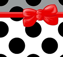 Polka Dots, Ribbon and Bow, White Black Gray Red  by sitnica