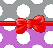 Polka Dots, Ribbon and Bow, Gray White Purple Red by sitnica