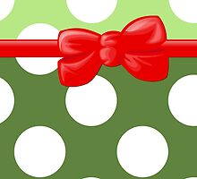 Polka Dots, Ribbon and Bow, White Green Red by sitnica