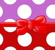 Polka Dots, Ribbon and Bow, White Purple Red by sitnica