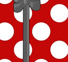 Polka Dots, Ribbon and Bow, White Gray Red by sitnica