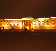 Historical palace at night by pisarevg