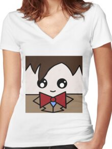 Dr Who 11th Doctor Squ'ed Women's Fitted V-Neck T-Shirt