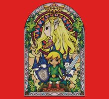 Link and Zelda Stained Glass One Piece - Short Sleeve