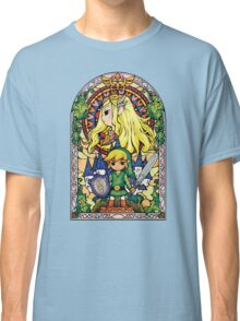 Link and Zelda Stained Glass Classic T-Shirt