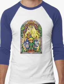 Link and Zelda Stained Glass Men's Baseball ¾ T-Shirt