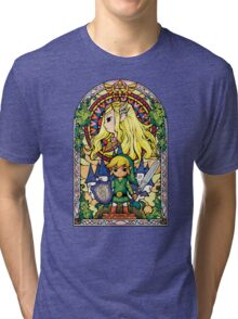 Link and Zelda Stained Glass Tri-blend T-Shirt