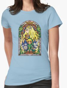 Link and Zelda Stained Glass Womens Fitted T-Shirt