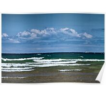 Clouds over a choppy Lake Michigan Poster