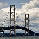 Mackinaw Bridge by the Straits of Mackinac by Randall Nyhof