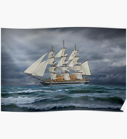 Three Masted Ship on the high seas Poster
