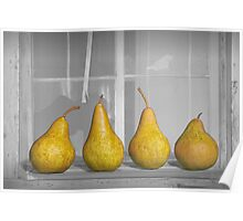 Four Pears on Windowsill Poster