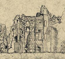 A digital painting of my Pencil Sketch of Old Wardour Castle by Dennis Melling