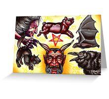 devil tattoo flash, evil witch, bat, black cat Greeting Card