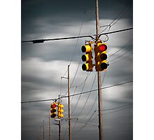 Waiting for the Traffic Light watching Gray Clouds flow by Photographic Print