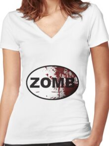 OutRunning Zombies Women's Fitted V-Neck T-Shirt